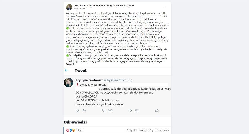 Burmistrz Podkowy Leśnej odpowiedział Krystynie Pawłowicz