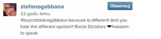 Stefano Gabbana komentuje