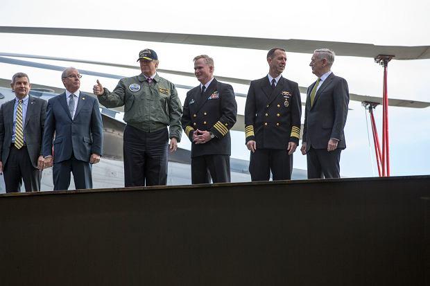 Prezydent Donald Trump na pokładzie lotniskowca USS Gerald Ford, 2 marca 2017 roku