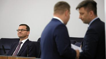 Premier rządu PiS Mateusz Morawiecki osobiście przepycha 'pilny rządowy projekt ustawy o IPN' przez Senat. Warszawa, 27 czerwca 2018