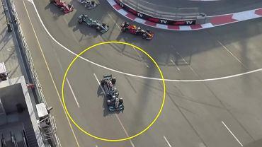 Lewis Hamilton przestrzelił hamowanie po wznowieniu wyścigu o GP Azerbejdżanu