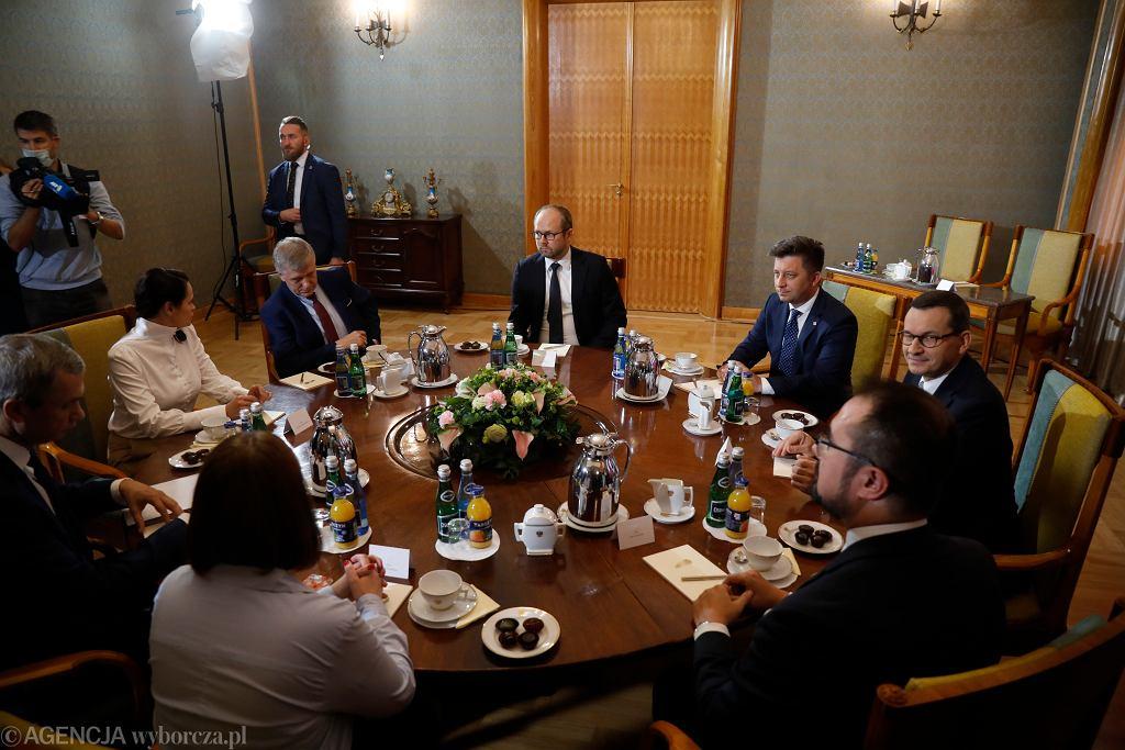 Spotkanie premiera Mateusza Morawieckiego ze Swiatłaną Cichanouska w KPRM (2020)