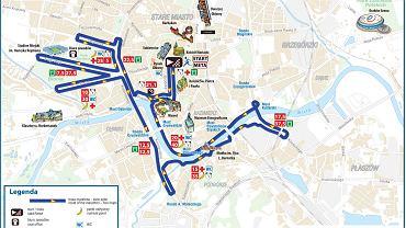 Trasa 14. PKO Cracovia Maraton - mapka