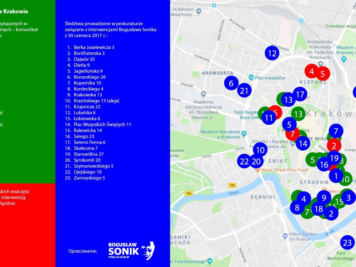 Reprywatyzacja Kamienic W Krakowie Mapa Adresow Badanych Przez