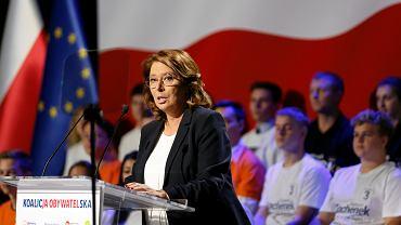 Małgorzata Kidawa-Błońska na konwencji Koalicji Obywatelskiej w Sosnowcu, 21.09.2019