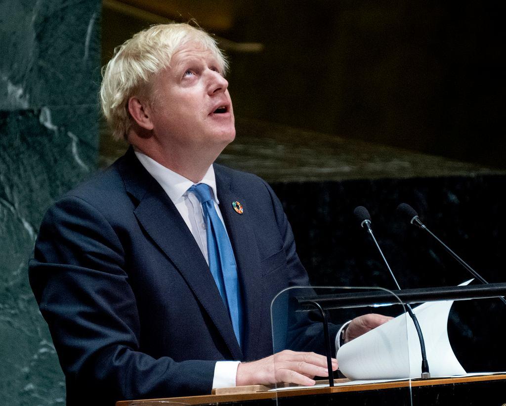 Premier Wielkiej Brytanii Boris Johnson przemawia podczas Zgromadzenia Narodowego ONZ.