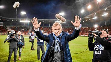 Zbigniew Boniek na stadionie Widzewa Łódź