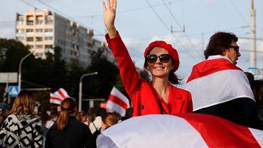 Protest przeciwko sfałszowanym wyborom prezydenckim na Białorusi, Mińsk, 13 września 2020.