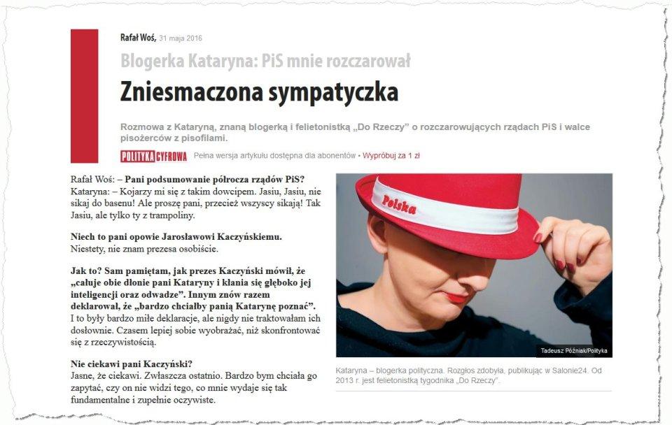 Znana blogerka Kataryna - zrzut ze strony www.polityka.pl