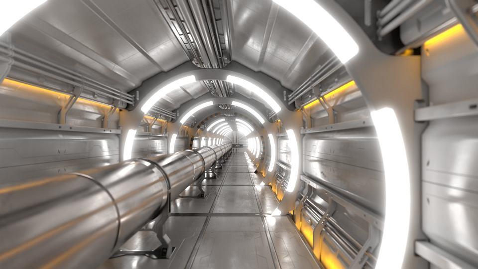 Wizualizacja wnętrza tunelu planowanego zderzacza cząstek elementarnych pod Genewą