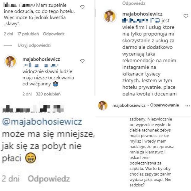 Maja Bohosiewicz odpowiada na komentarz internautki