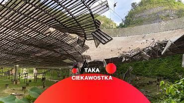 Uszkodzona przez pierwszą zerwaną linę czasza radioteleskopu Arecibo