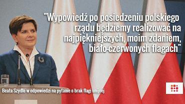 Beata Szydło na tle polskich flag w KPRM