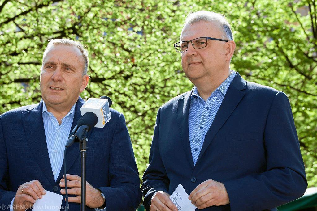 Kwiecień 2018 r., konferencja Grzegorza Schetyny i Kazimierza Michała Ujazdowskiego we Wrocławiu.