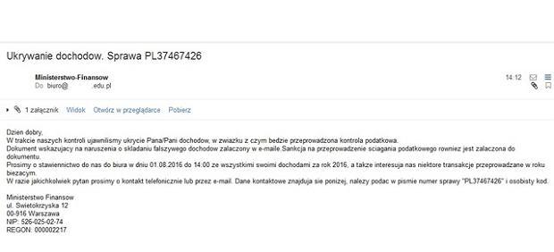 Przykładowy e-mail rozsyłany przez oszustów
