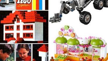 Zestaw klocków LEGO z lat 60. i jego nowoczesne odpowiedniki