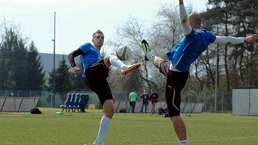 Trening Lecha Poznań. Łukasz Teodorczyk i Maciej Matysiak