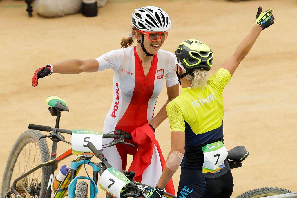 Maja Włoszczowska na mecie w Rio 2016