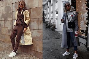 Elegancki płaszcz i bluza z kapturem - połączenie idealne