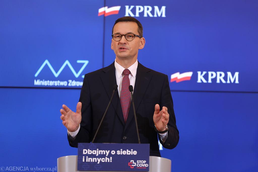 Konferencja prasowa premiera Mateusza Morawieckiego w sprawie epidemii koronawirusa.