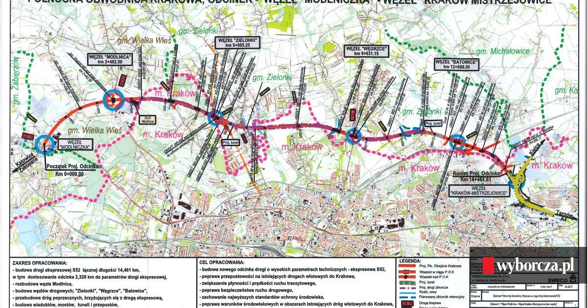 Polnocna Obwodnica Krakowa Konsultacje Dotyczace Przebiegu Mapa
