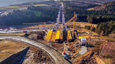 Budowa nowej zakopianki. Tenczyn, grudzień 2017.