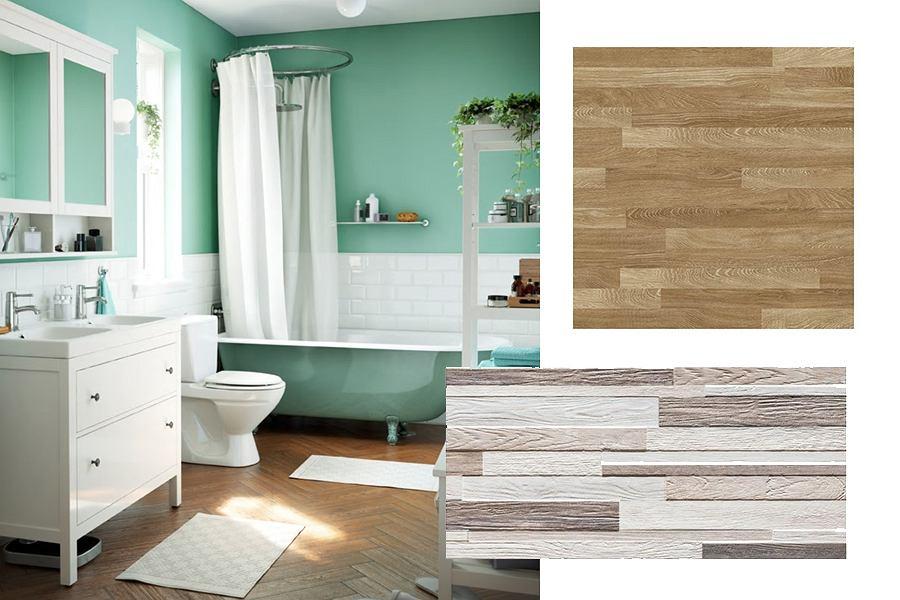 Płytki udające drewno w łazience