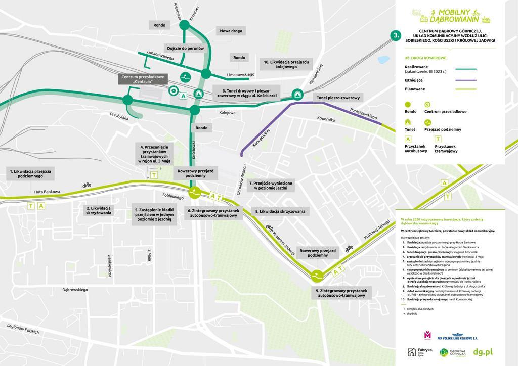 Mapy przebudowywanego układu drogowego w Dąbrowie Górniczej