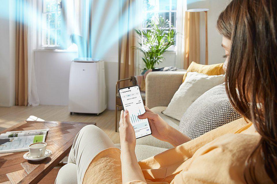 Przenośny klimatyzator LG oferuje również możliwość korzystania z inteligentnych funkcji.