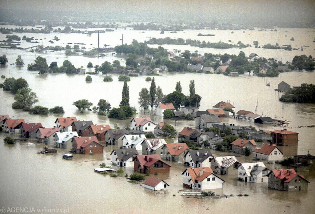 Racibórz podczas powodzi z 1997 roku.