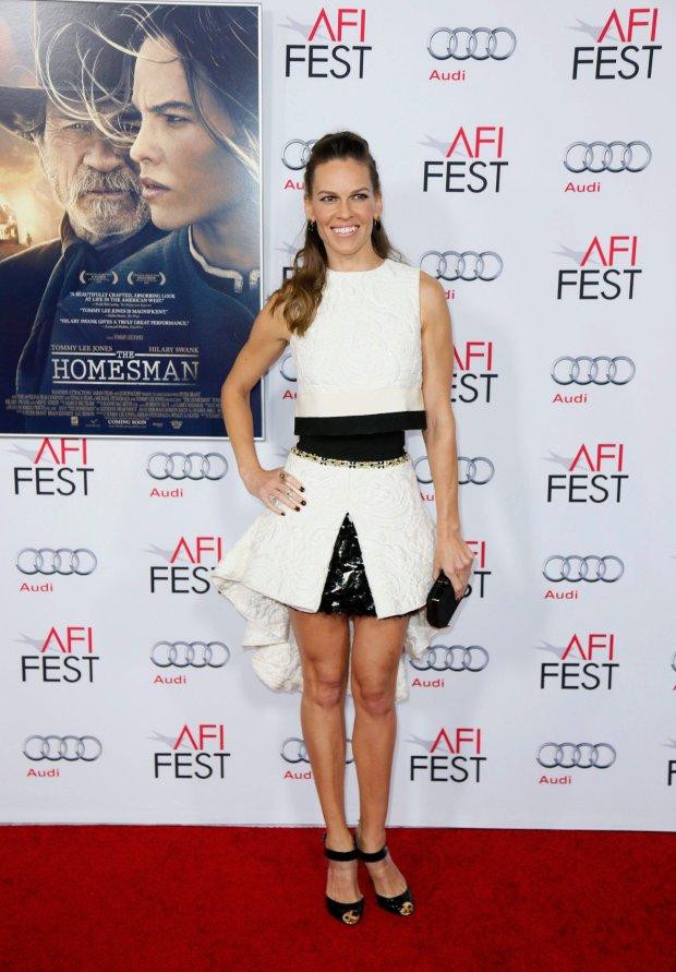 Actress Hilary Swank poses at the gala screening of The Homesman