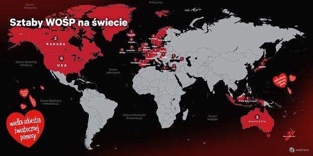 Mapa sztabów WOŚP na świecie. WOŚP zagra nie tylko w Polsce