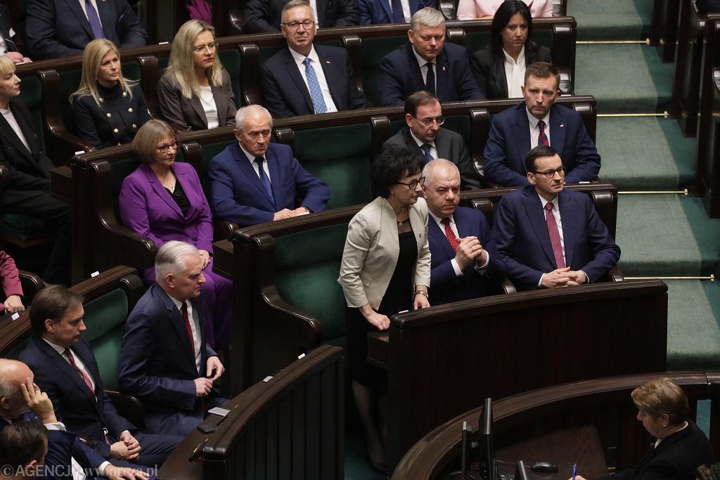 Elżbieta Witek podczas pierwszego posiedzenia Sejmu IX kadencji. Warszawa, 12 listopada 2019