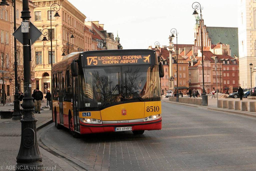 ZTM Warszawa. Autobus linii 175 na Krakowskim Przedmieściu