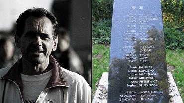 Ryszard Szurkowski i tablica upamiętaniająca Polaków, którzy zginęli w zamachu na WTC