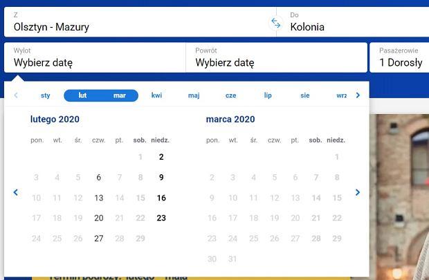 Loty z Olsztyna do Kolonii