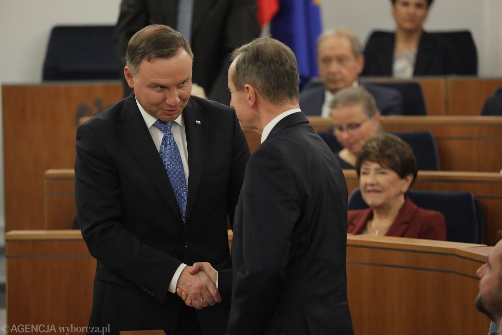 Andrzej Duda i Tomasz Grodzki podczas pierwszego posiedzenia Senatu X Kadencji
