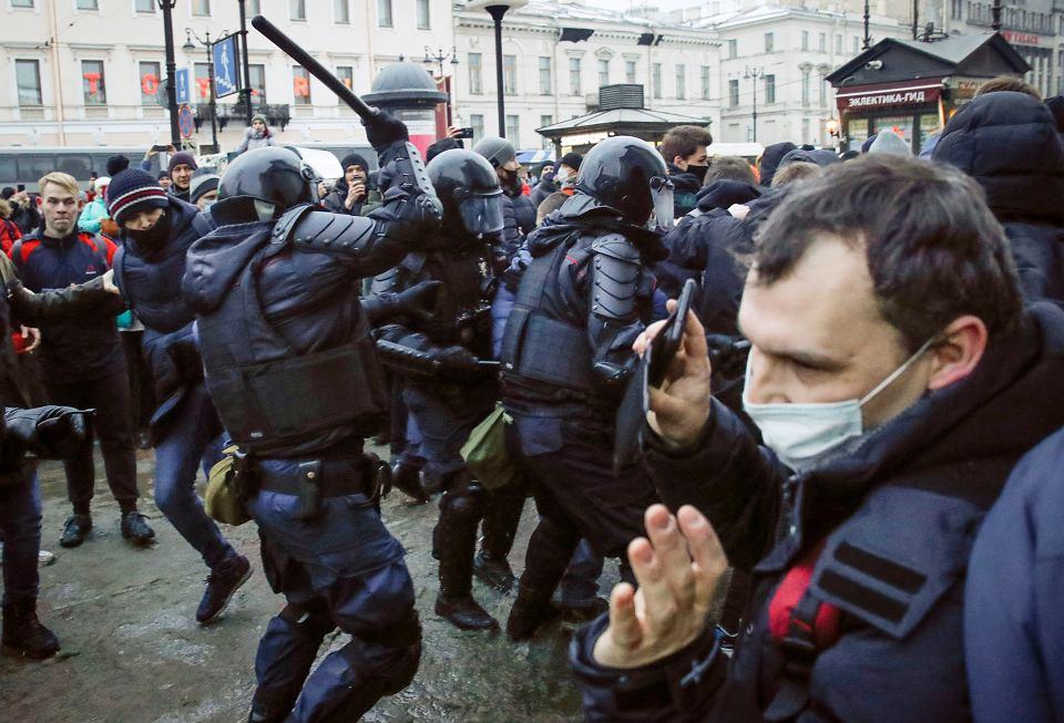 Protesty w Petersburgu, 23 stycznia 2021 r.