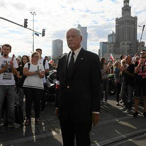 Julian Eugeniusz Kulski 'Goliat' - powstaniec warszawski podczas obchodów 72. rocznicy wybuchu Powstania Warszawskiego