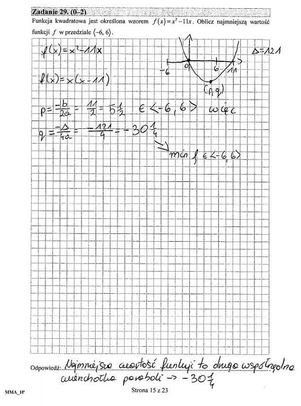 Matura poprawkowa 2016 matematyka, Zad. 29