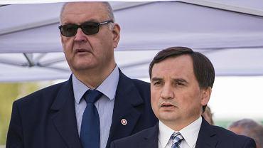 Prokurator Bogdan Święczkowski i minister sprawiedliwości w rządzie PiS Zbigniew Ziobro  podczas otwarcia nowego budynku prokuratury. Sosnowiec, 4 października 20219