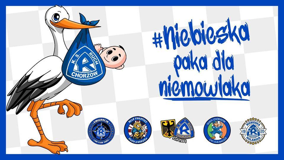 Logo akcji kibiców oraz Ruchu Chorzów. 'Niebieska paka dla niemowlaka'