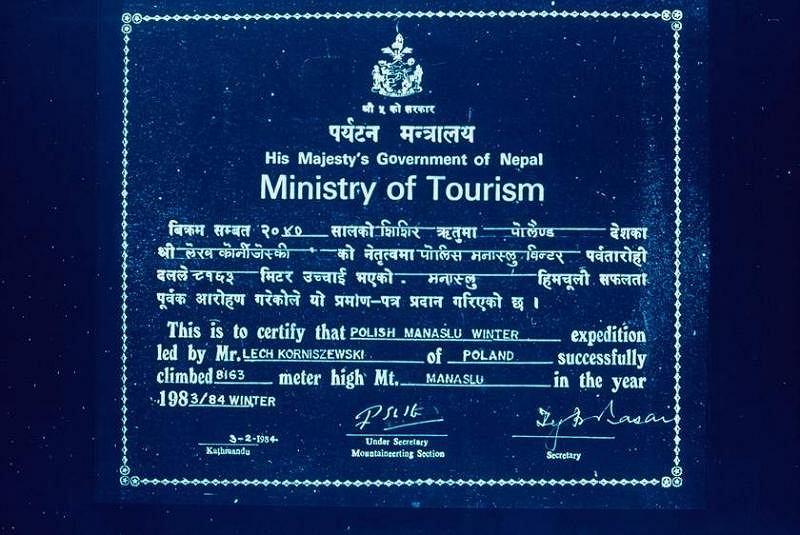 Dyplom od Nepalczyków dla pierwszych zdobywców Manaslu (fot. archiwum Ryszarda Gajewskiego)