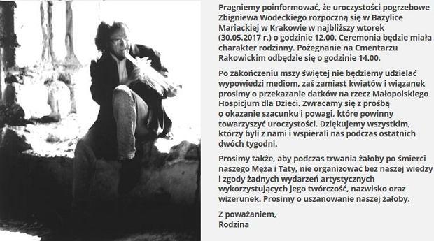 Screen ze strony Zbigniewa Wodeckiego