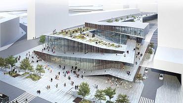 Wizualizacja paryskiej stacji metra Saint-Denis Pleyel. Warszawscy urzędnicy wskazują ją jako inspirację dla pawilonu nad 'patelnią' przy stacjo metra Centrum, łączącego funkcję węzła przesiadkowego z miejskim budynkiem kulturalnym