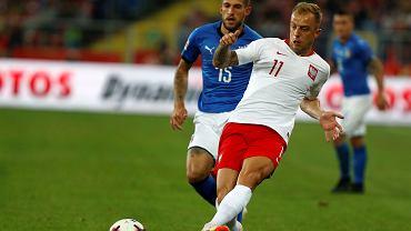 Kamil Grosicki podczas meczu Polska - Włochy (Liga Narodów). Chorzów, Stadion Śląski, 14 października 2018