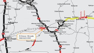 Planowany układ sieci drogowej i połączenia S1 z S7