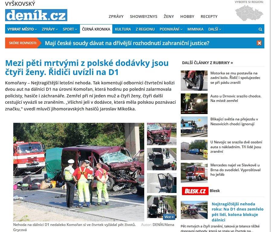 Informacja o wypadku w czeskich mediach