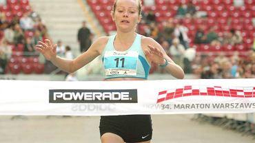 Agnieszka Ciołek na mecie Maratonu