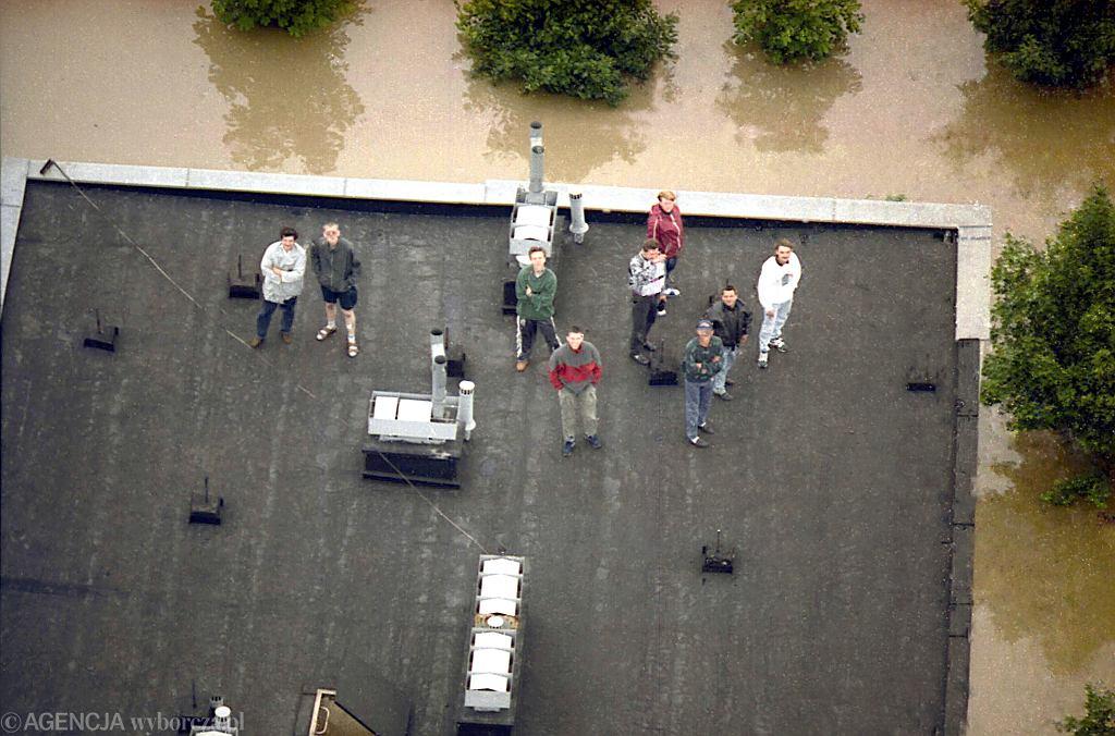 Racibórz zalany podczas powodzi w 1997 roku.